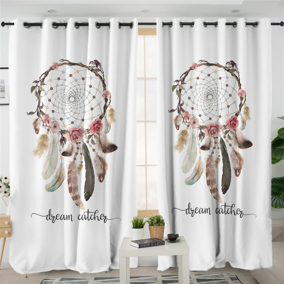 Dream Catcher White 2 Panel Curtains