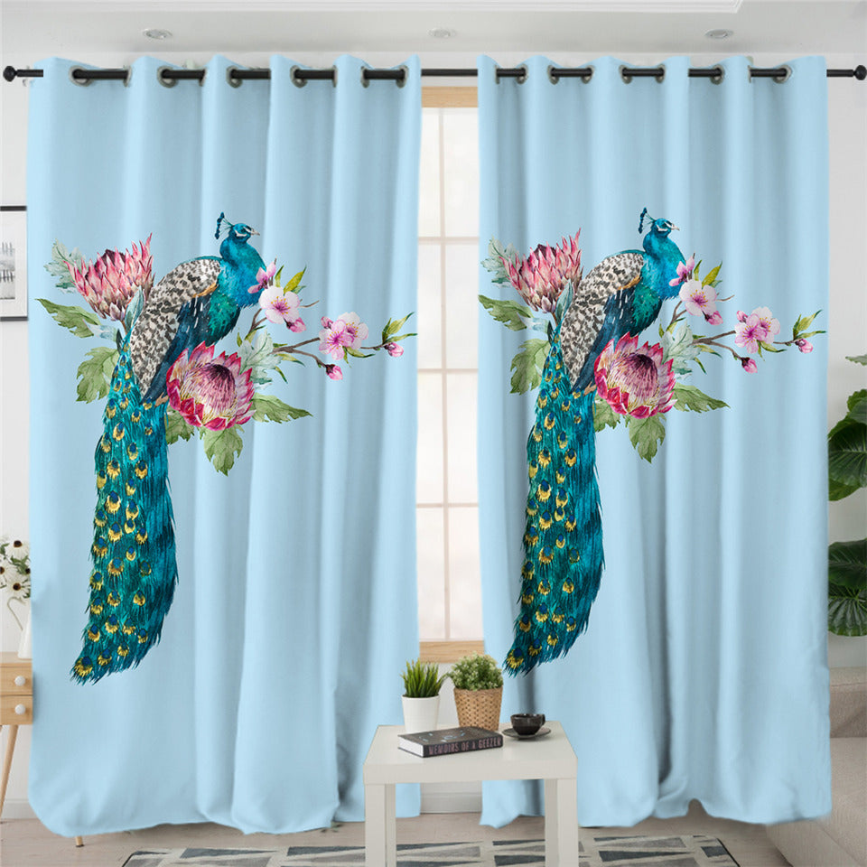 Graceful Peacock Sky 2 Panel Curtains