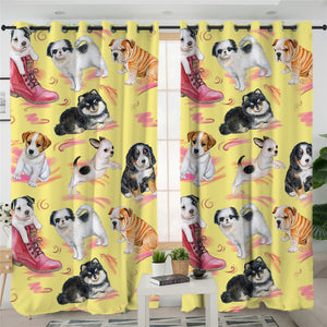 Hippie Pugs 2 Panel Curtains