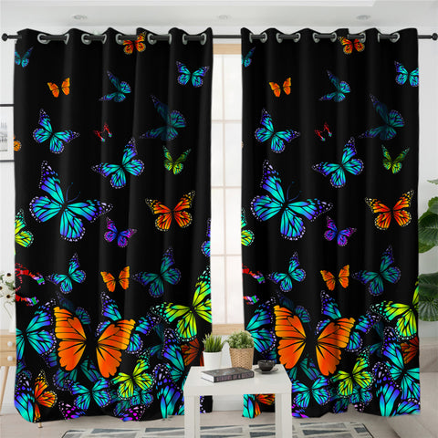 Noctural Monarch Butterflies 2 Panel Curtains