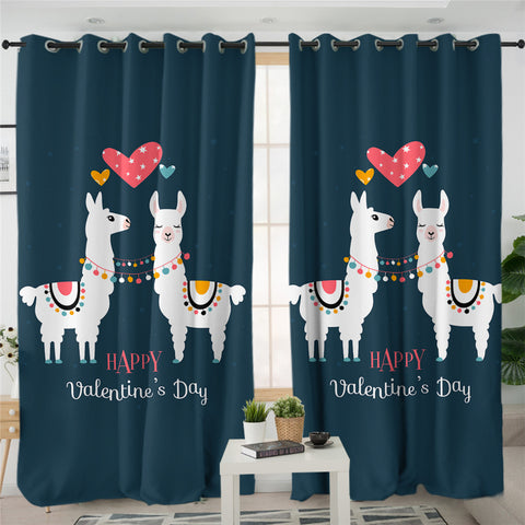 Image of Llama Couple 2 Panel Curtains