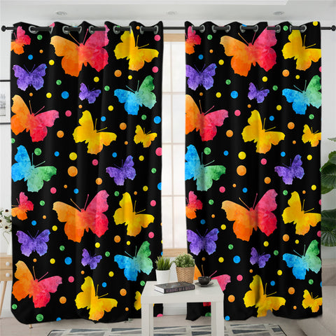 Image of 3D Colorful Butterflies 2 Panel Curtains