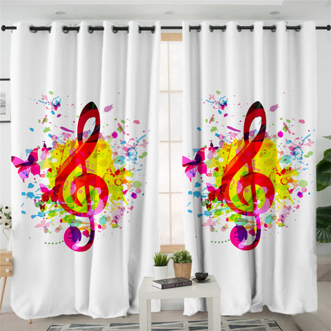 Colored Clef & Butterflies 2 Panel Curtains