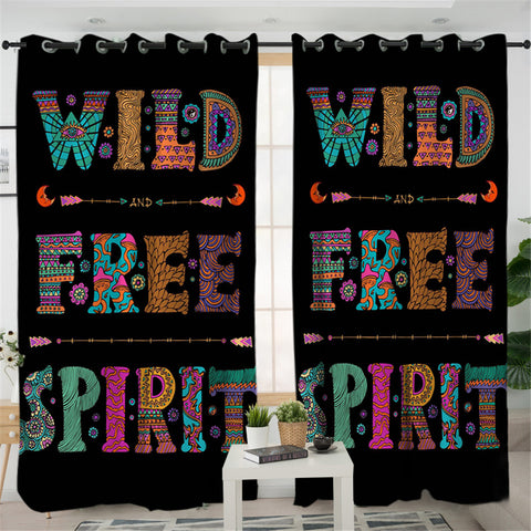 Image of Wild Free Spirit 2 Panel Curtains