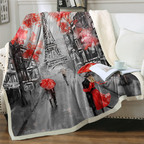 Red Romantic Paris Sherpa Fleece Blanket - Beddingify