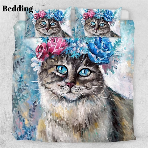 Image of Cat Flower Wreath Bedding Set - Beddingify