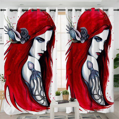 3D Realistic Mermaid 2 Panel Curtains