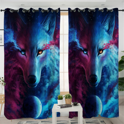 Image of Cosmic Contrast Wolf 2 Panel Curtains