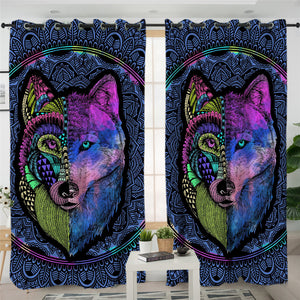 Mandala Blue Wolf 2 Panel Curtains