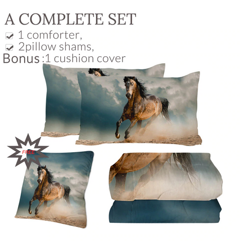 Image of 4 Pieces 3D Galloping Horse Comforter Set - Beddingify