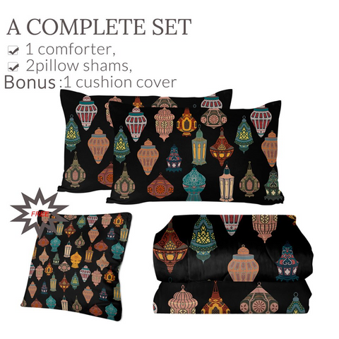 4 Pieces Lantern Collection Comforter Set - Beddingify