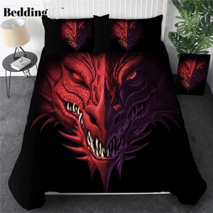 Red Dragon Head Bedding Set