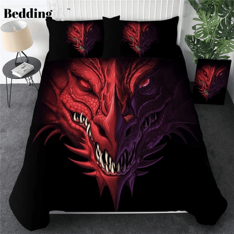 Image of Red Dragon Head Bedding Set - Beddingify