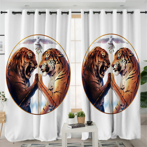 Tiger Duel White 2 Panel Curtains