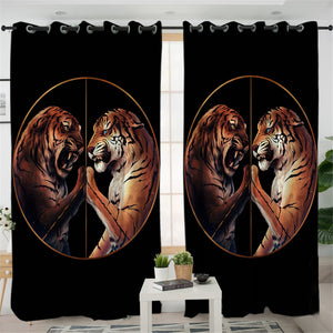 Tiger Duel Black 2 Panel Curtains