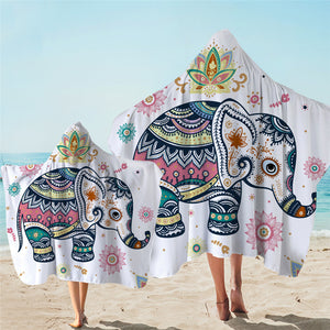 Stylized Elephant Hooded Towel