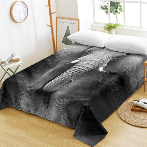 3D Elephant B&W Flat Sheet - Beddingify