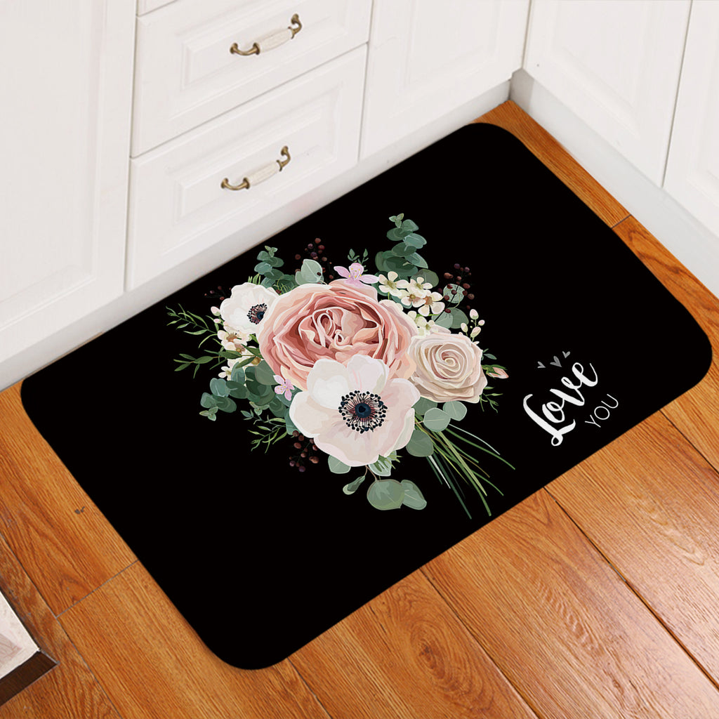 Love You Rose Bouquet Door Mat
