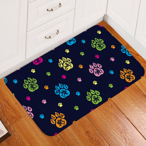 Paw Print Patterns Dark Blue Door Mat