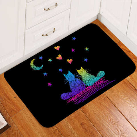Cat Couple Romantic Door Mat