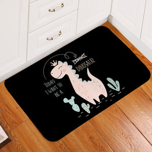 Dino Princess Black Door Mat