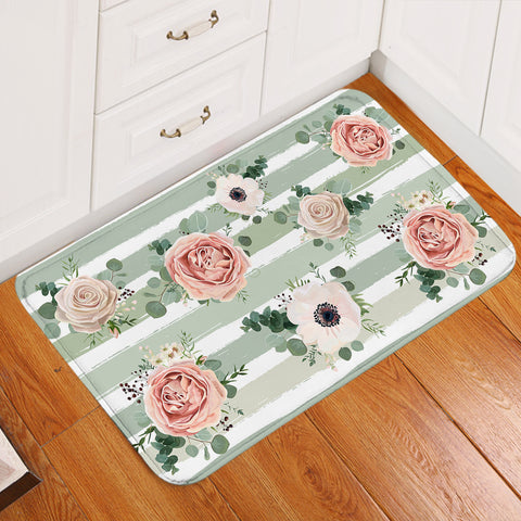 Image of Painted Roses Stripes Door Mat