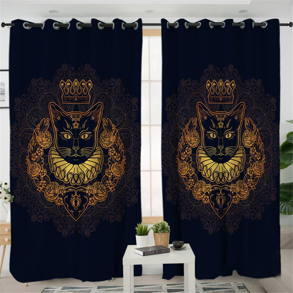 King Of Cat 2 Panel Curtains