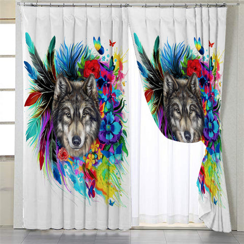 Honored Wolf White 2 Panel Curtains