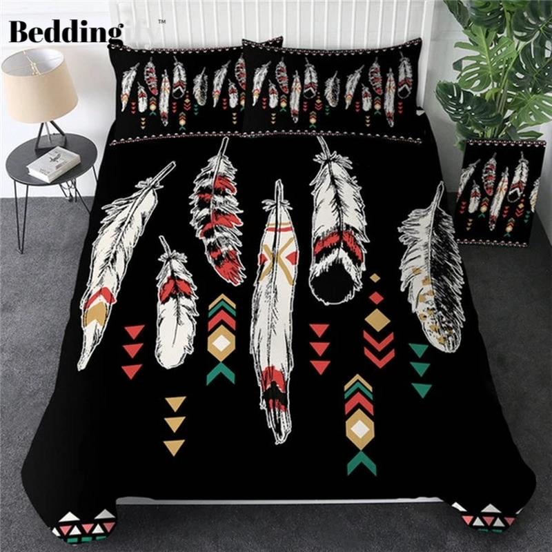 Ethnic Feathers Bohemian Comforter Set - Beddingify