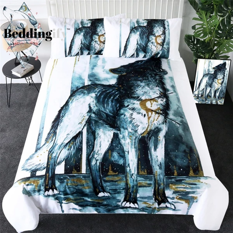 Injured Wolf Art Bedding Set - Beddingify