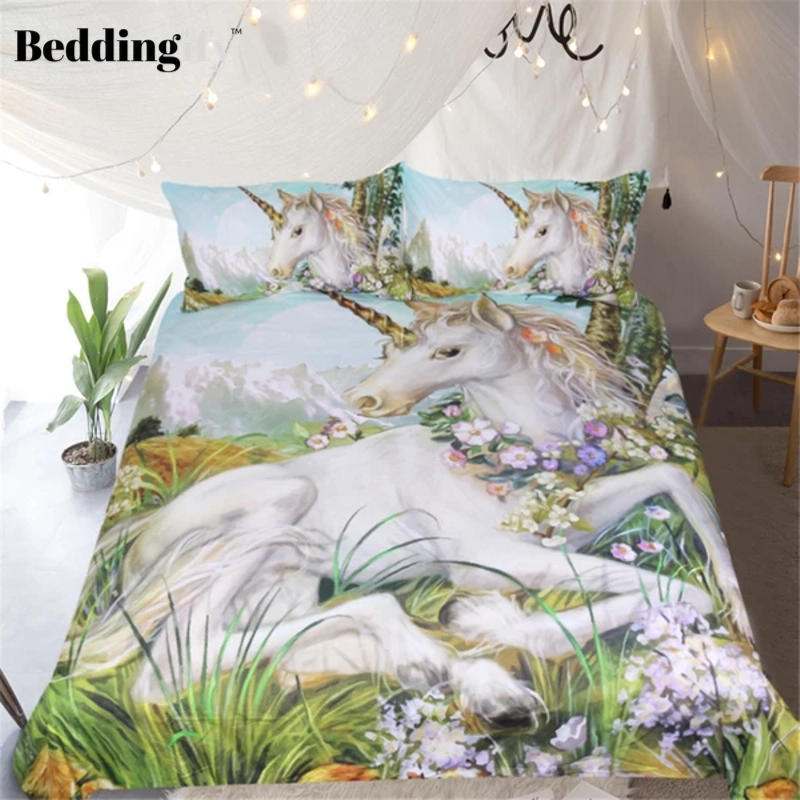 Watercolor Floral Unicorn Bedding Set - Beddingify