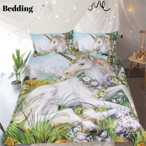 Image of Watercolor Floral Unicorn Bedding Set - Beddingify