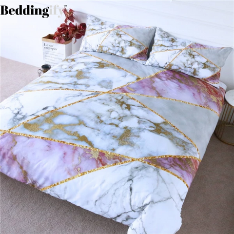 Geometric Golden Lines Bedding Set - Beddingify