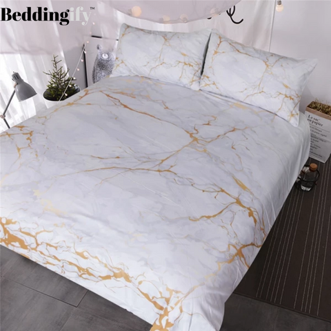 Image of Gold and White Marble Bedding Set - Beddingify