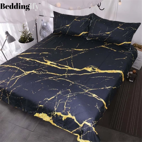 Image of Gold Glitter Black Marble Stone Bedding Set - Beddingify