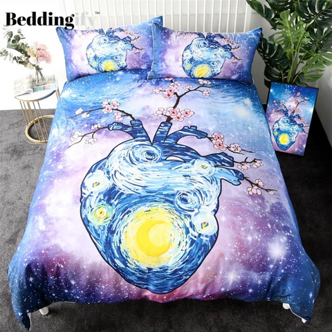 Image of Watercolor Art Heart Comforter Set - Beddingify
