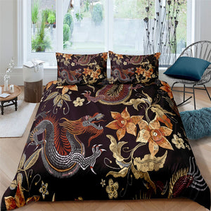 Woven Dragon & Flower 3 Pcs Quilted Comforter Set - Beddingify