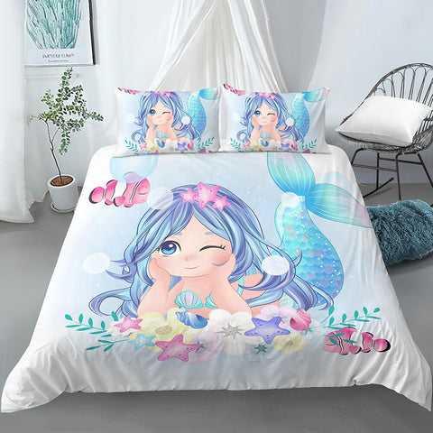 Cute Blue Mermaid Bedding Set - Beddingify