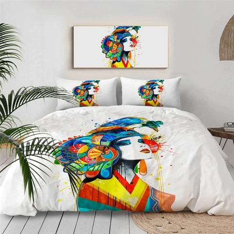 Bird Girl By Pixie Cold Art Bedding Set - Beddingify