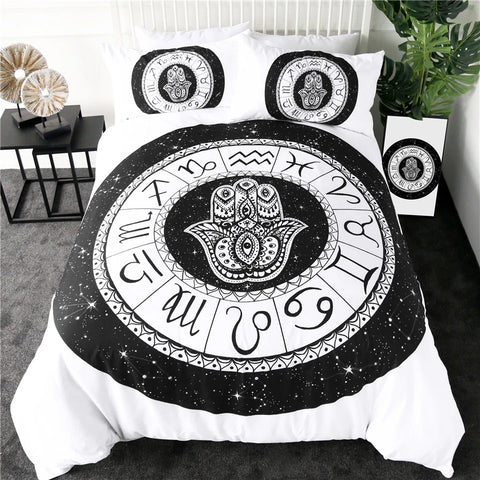 Black HAMSA By Pixie Cold Art Bedding Set - Beddingify