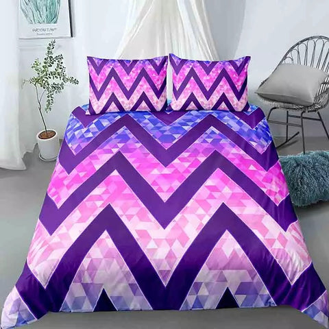 Purplish Wave Lines Bedding Set - Beddingify