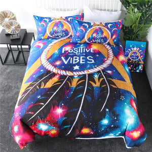 Positive Vibes By Pixie Cold Art Bedding Set - Beddingify