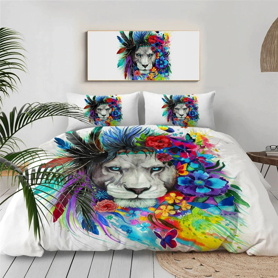 Flower Tribal Lion By Pixie Cold Art Bedding Set - Beddingify
