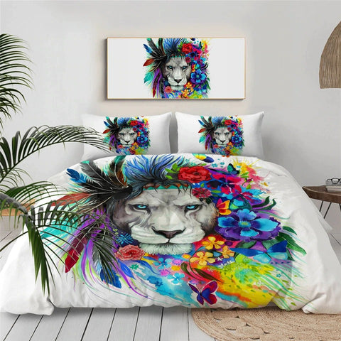Image of Flower Tribal Lion By Pixie Cold Art Bedding Set - Beddingify