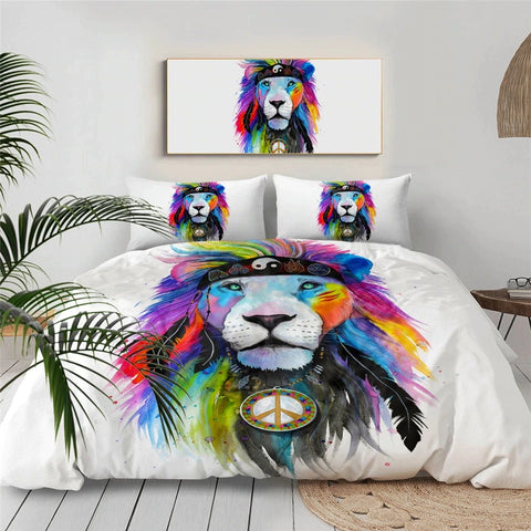 Image of Yin Yang Peace Sign Lion By Pixie Cold Art Bedding Set - Beddingify