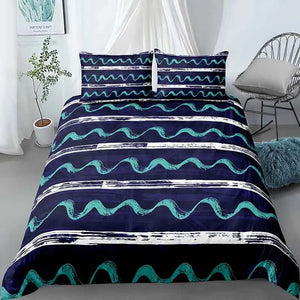 Stripes & Wave Lines Bedding Set - Beddingify