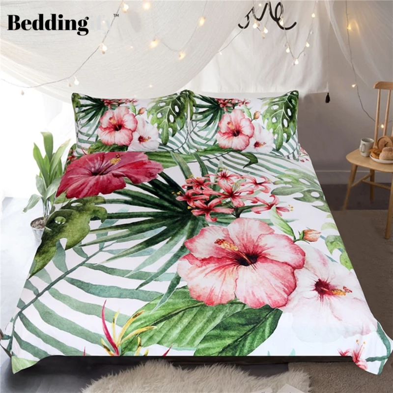 Flowers Leaves Comforter Set - Beddingify
