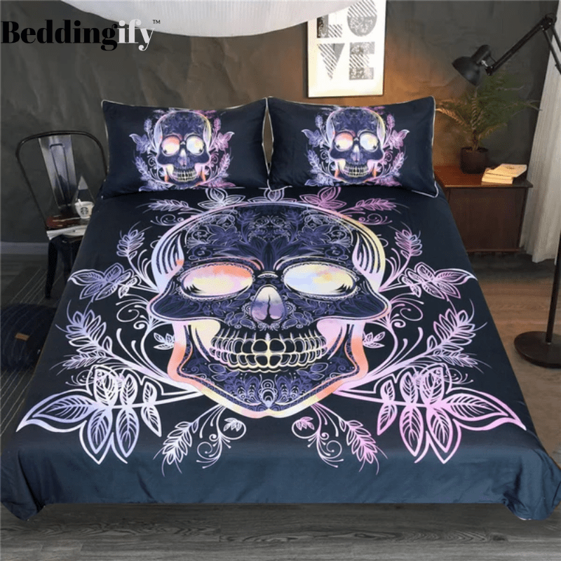 Leaves Paisley Skull Bedding Set - Beddingify