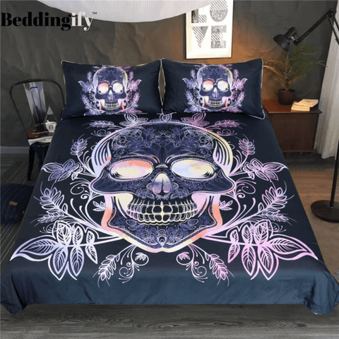 Image of Leaves Paisley Skull Bedding Set - Beddingify