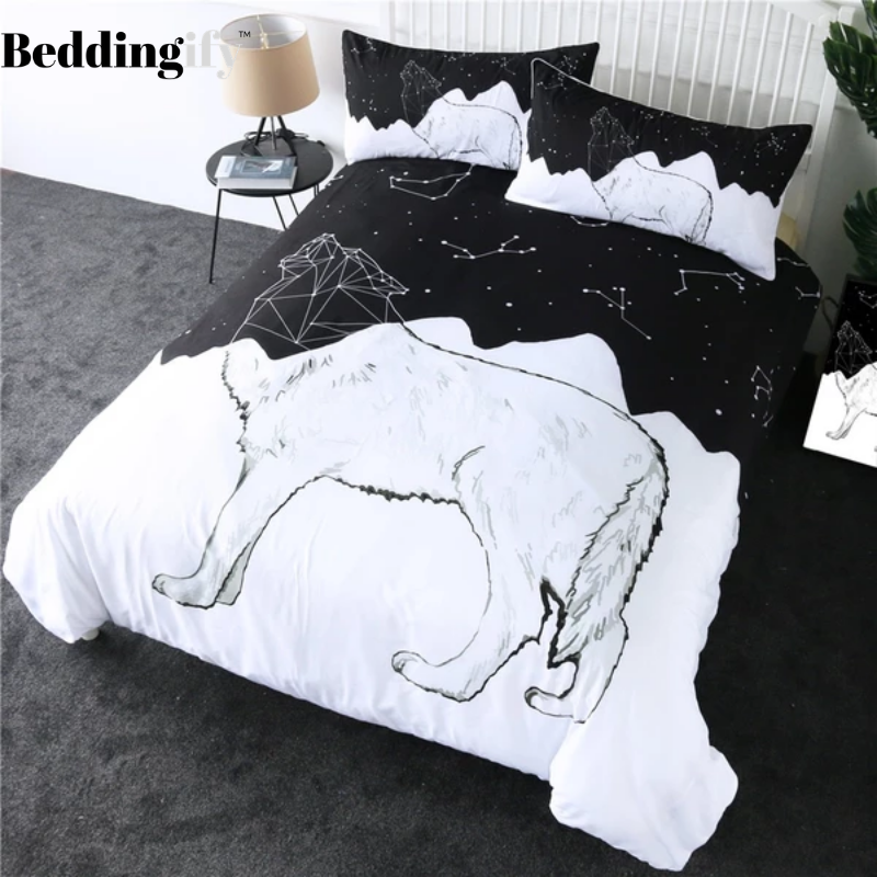 Wolf Constellation Lines Bedding Set - Beddingify